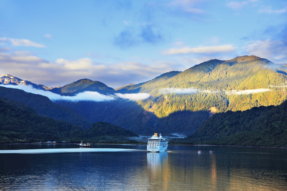 Cruise ship at sunrise in Sunrise in the Chilean fjord