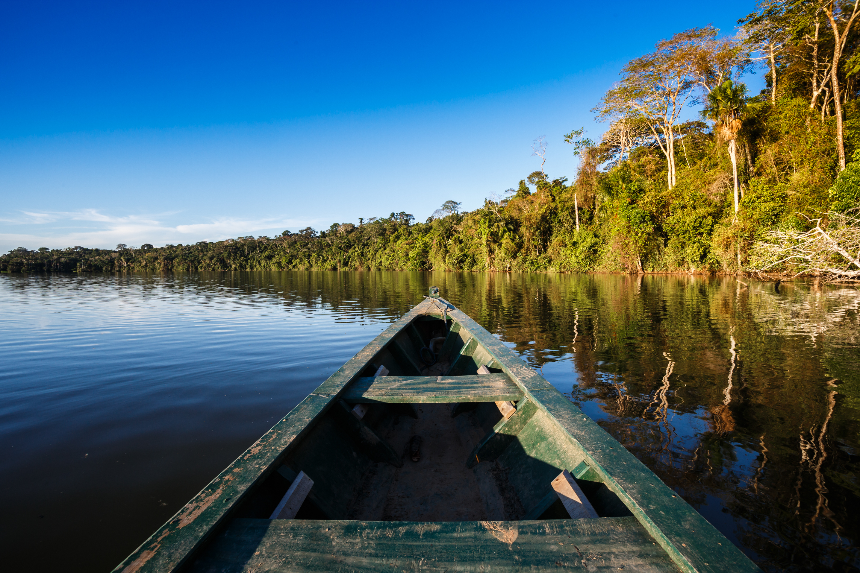 Boat floating on the Amazon river