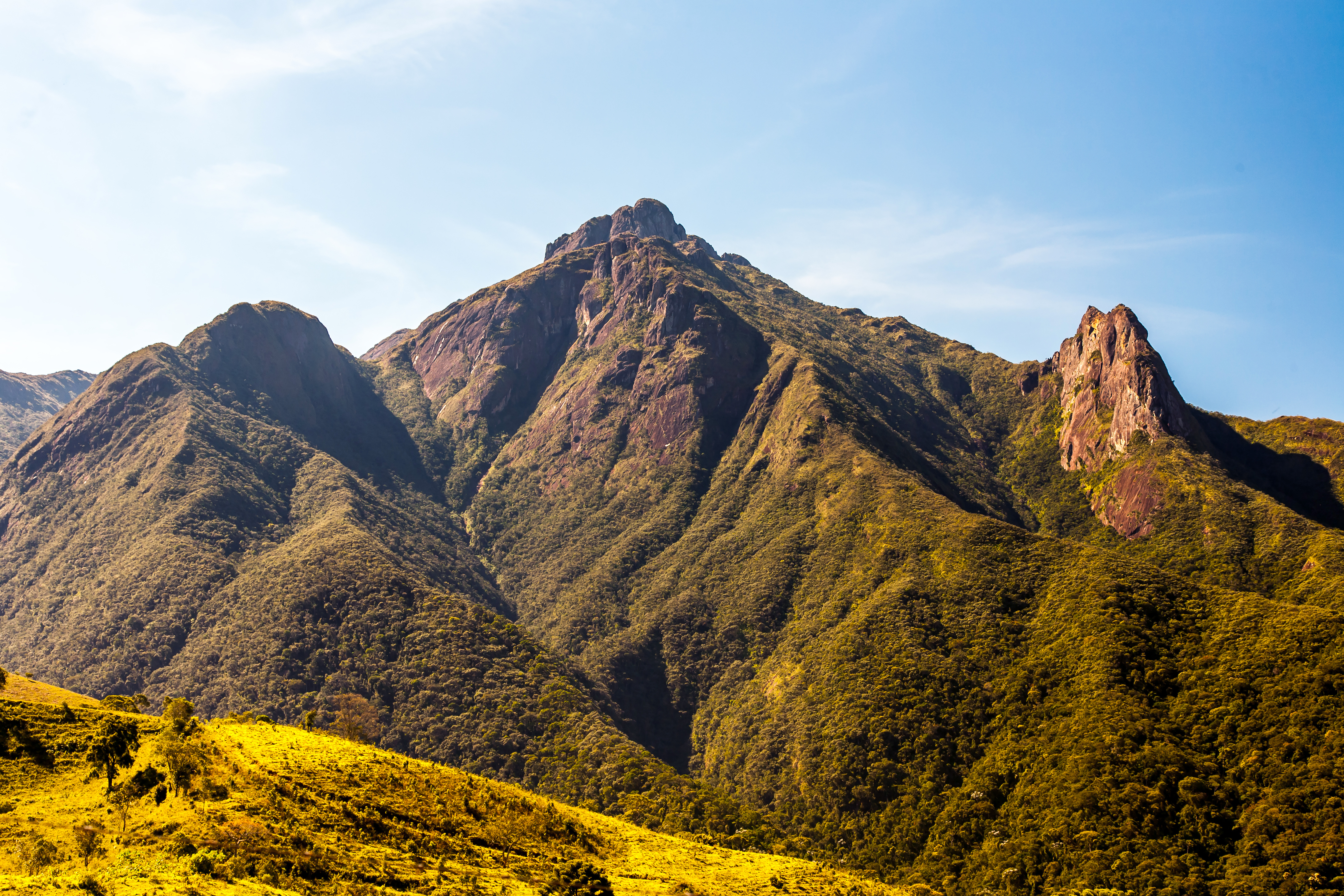 Brazilian highlands mountains lit with the sun