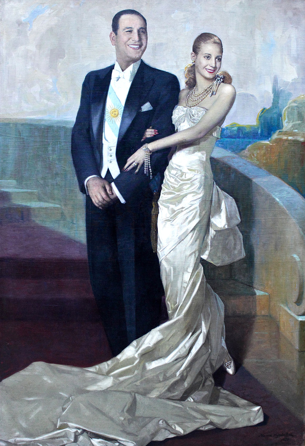 Portrait of Juan Domingo Perón and Eva Peron by artist Numa Ayrinhac