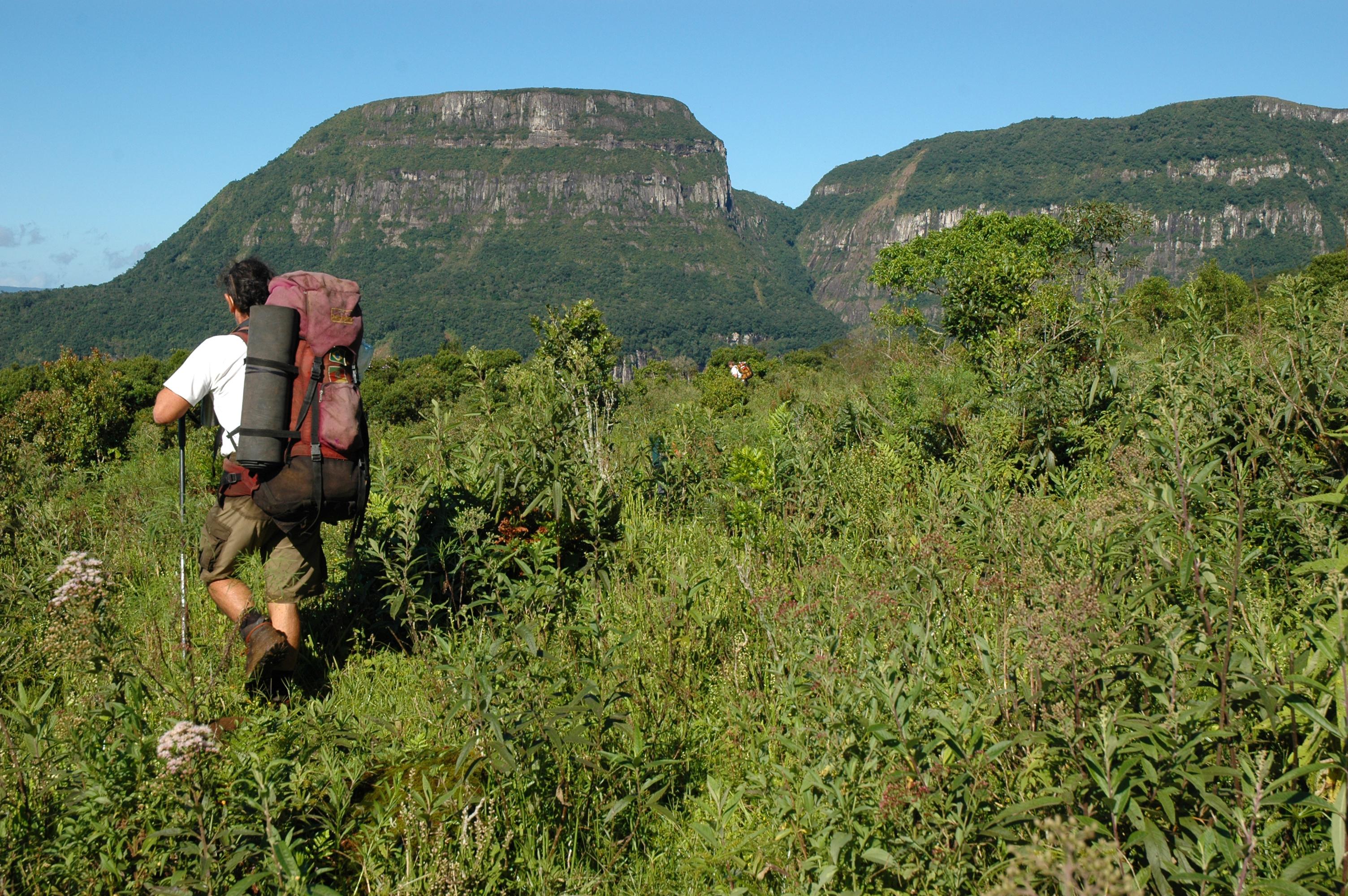Man trekking in Serra Geral in South Brazil