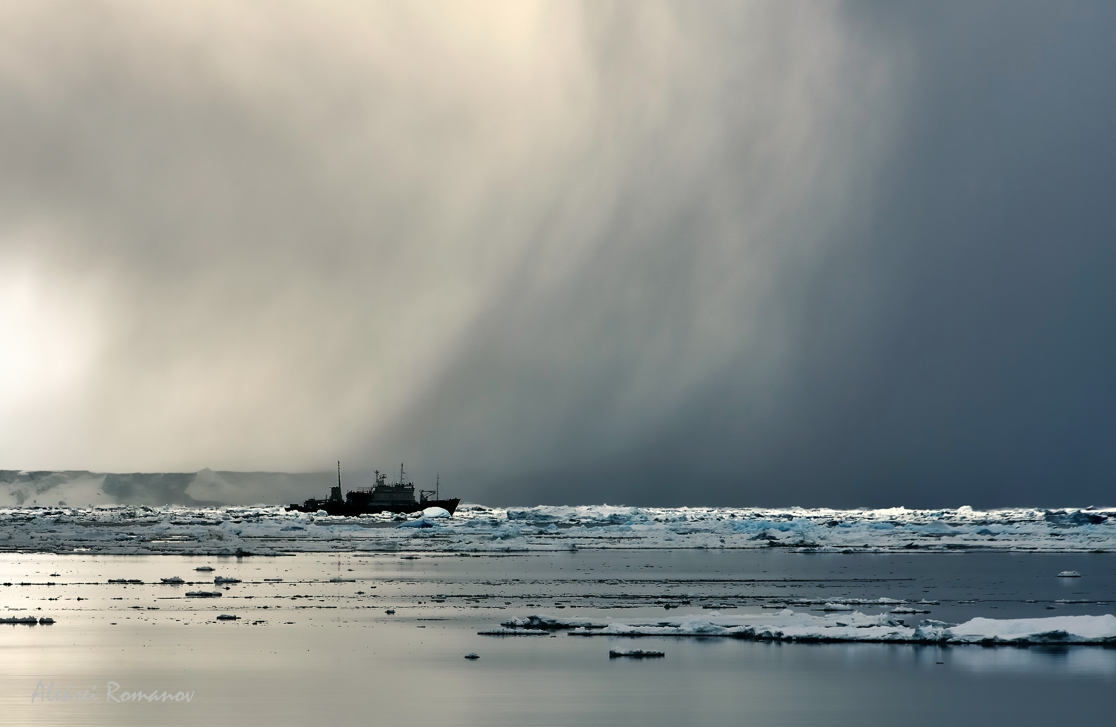 Storm and ship in the Weddell sea in Antarctica