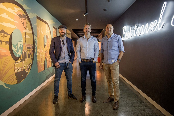 Pictured (left to right): Greg Carter – Co-founder Chimu Adventures, James Thornton – CEO, Intrepid Travel, and Chad Carey – Co-founder, Chimu Adventures