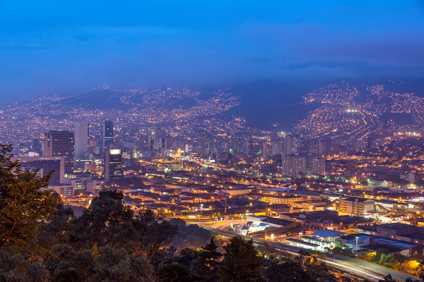 Amazing panoramic night view of Medellin, Colombia.