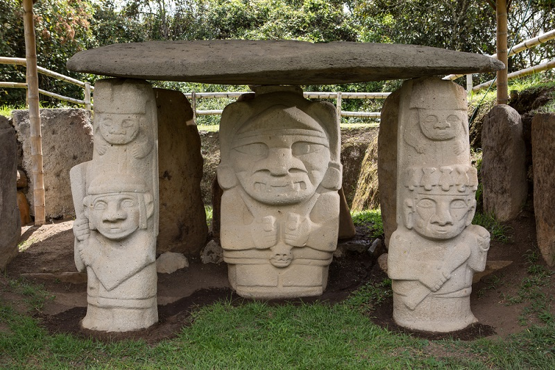 Historic pre-colombian tomb statues in San Agustin.