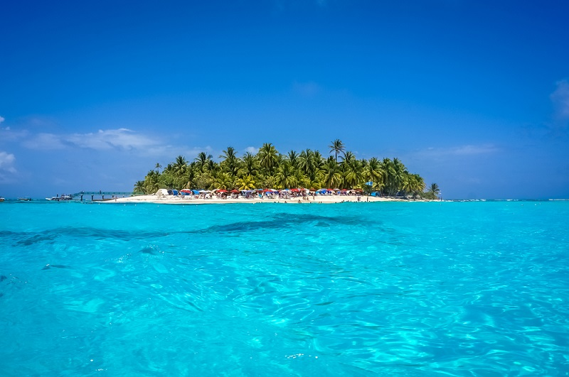 Picturesque white beaches surrounded by crystal clear waters of San Andres Island