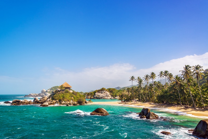 Secluded white beach at Tayrona National Park, Colombia.
