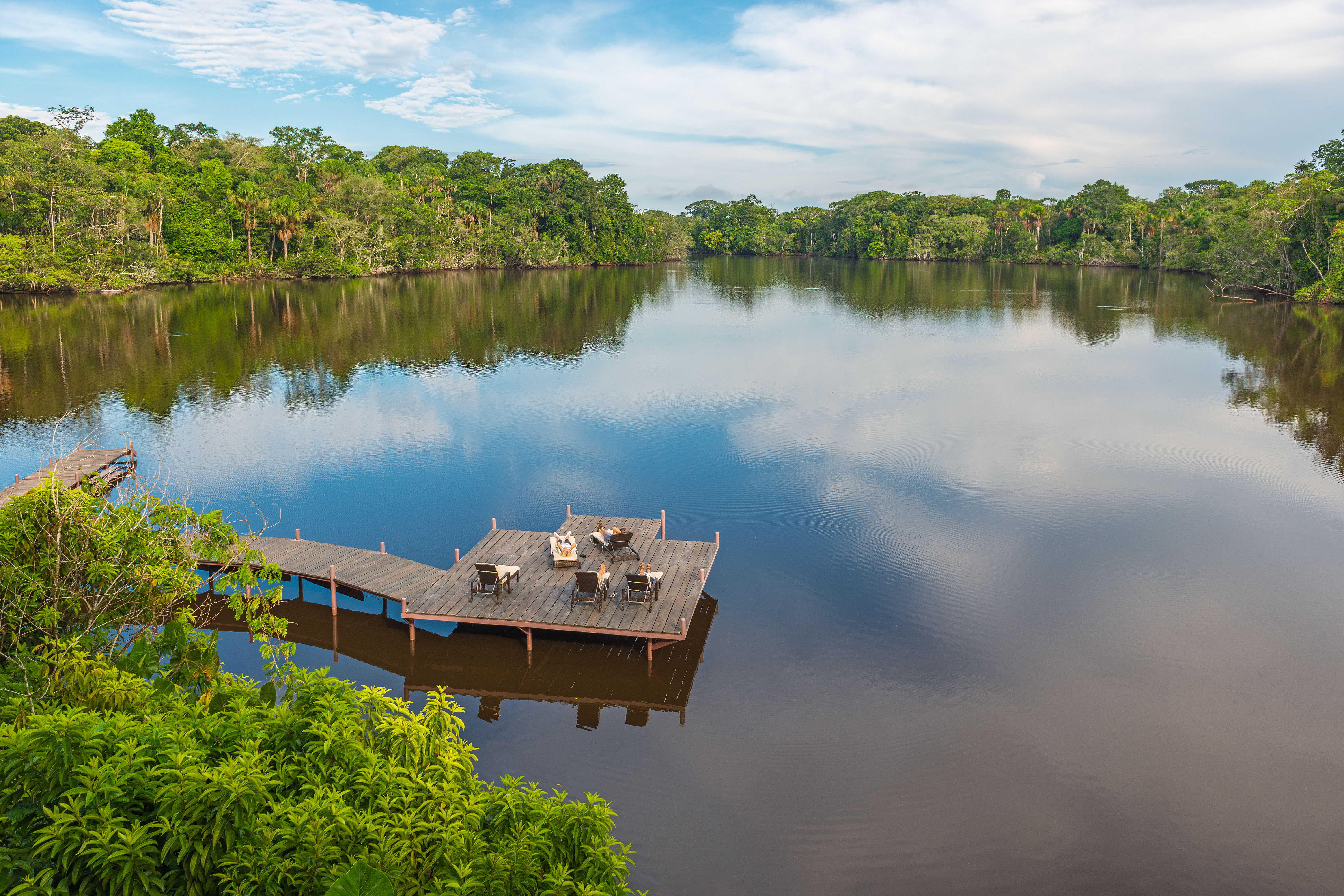 Explore the Amazon: Aerial view of an Amazon lodge