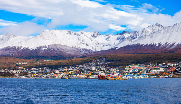 Port of Ushuaia, the capital of Tierra del Fuego Province in Argentina. Photo Credit: Shutterstock.