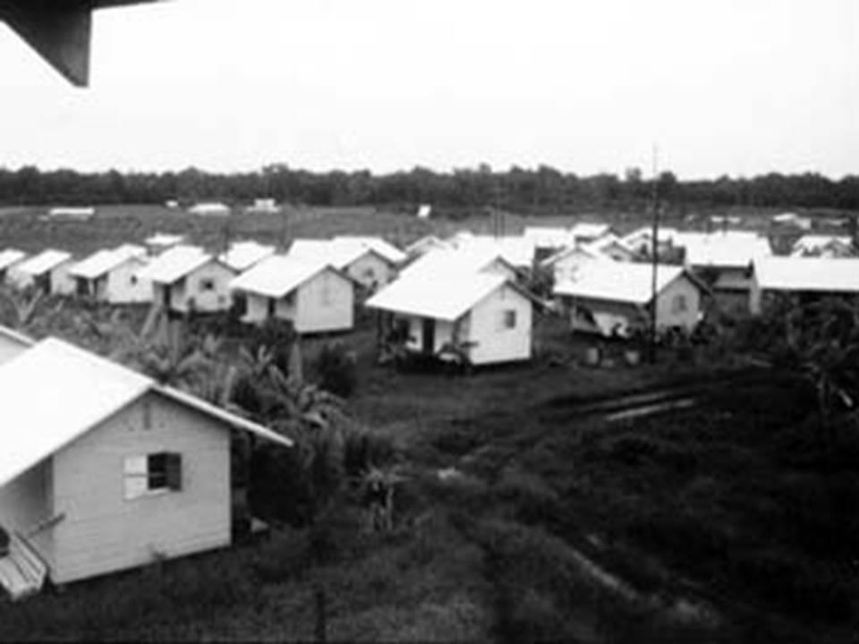 Jonestown houses 1979. Photo Credit: Wikipedia