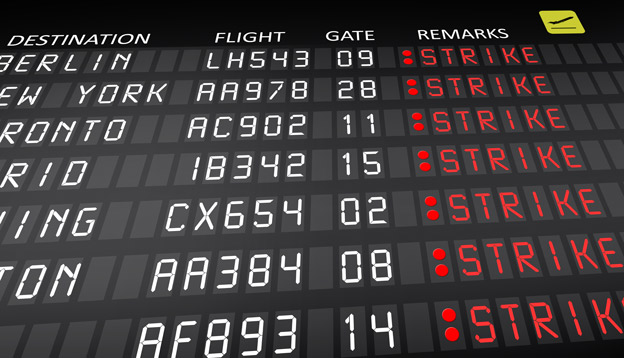 Flight schedule cancelled due to strike. Photo Credit: Shutterstock