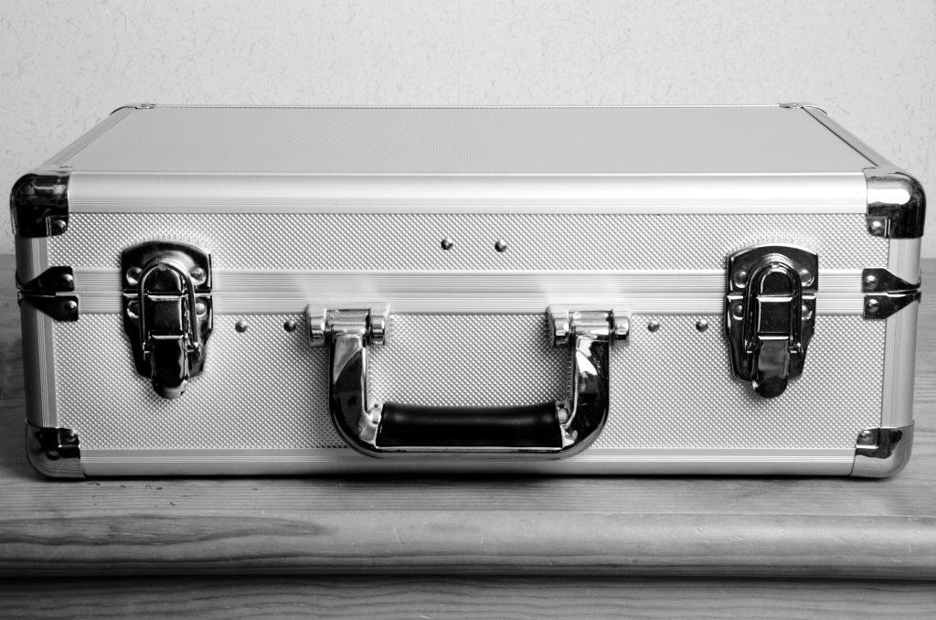 Closed metal suitcase