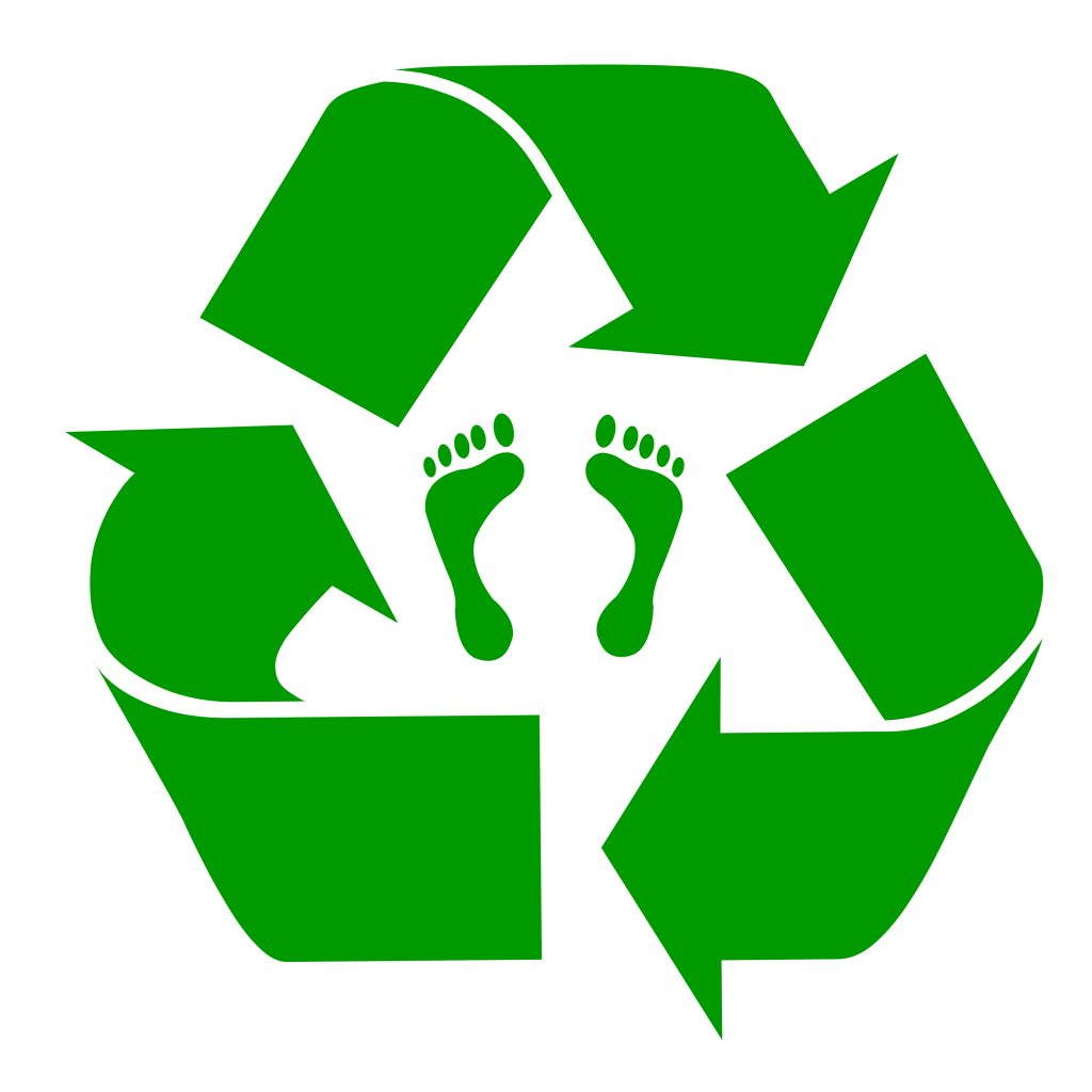 Green recycling symbol with carbon footprint,