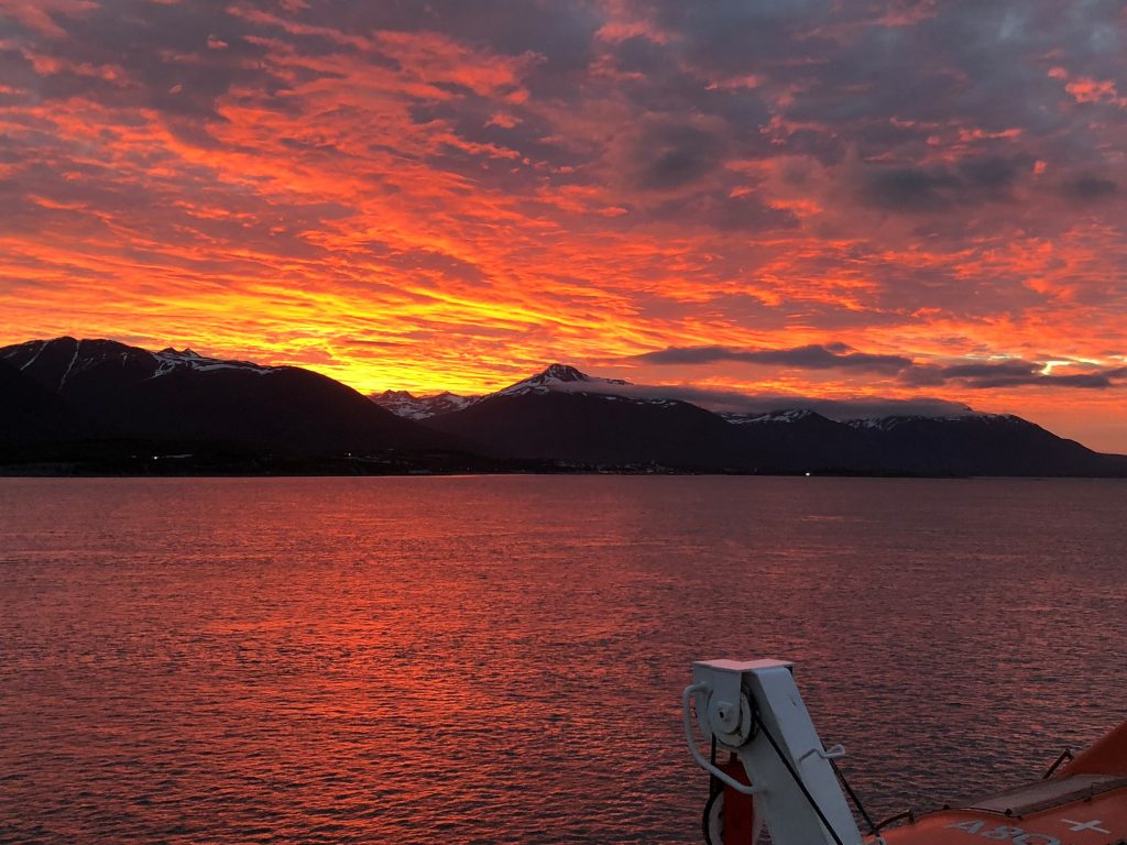 Spectacular Sunset from Ship cruising through the Beagle Channel