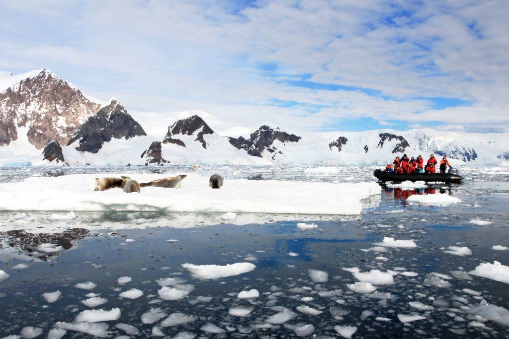 Zodiac boat in Antarctica