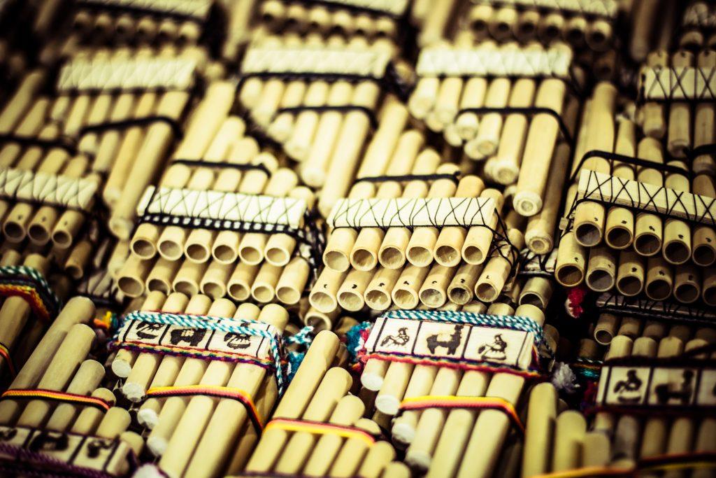 Authentic south american panflutes in local market in Peru. credit shutterstock