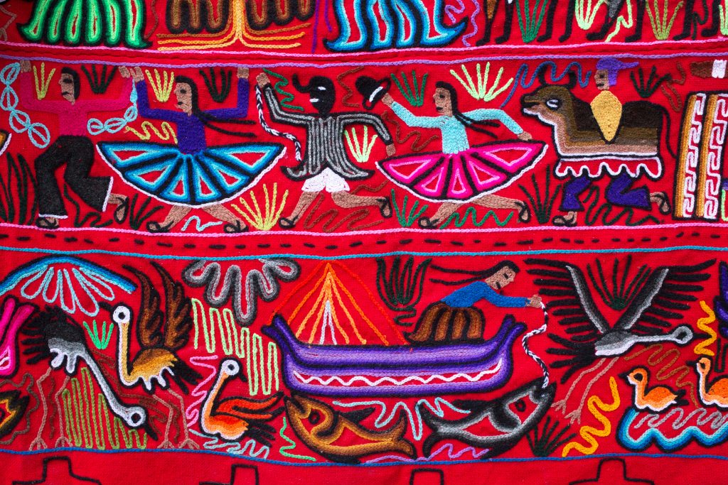 Traditional colourful Peruvian fabric credit shutterstock