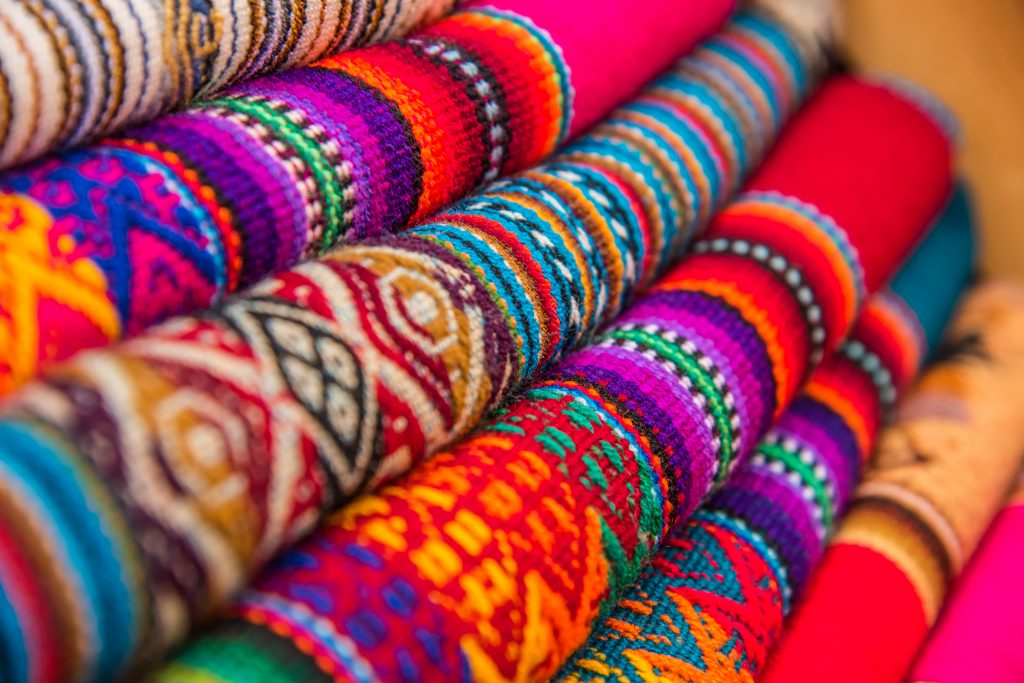Rugged andean textile and fabrics. credit shutterstock