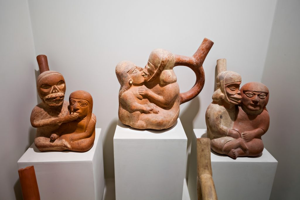 LIMA, PERU - MAY 28, 2015: Erotic pottery in the Larco Museum, located in Lima, Peru credit shutterstock