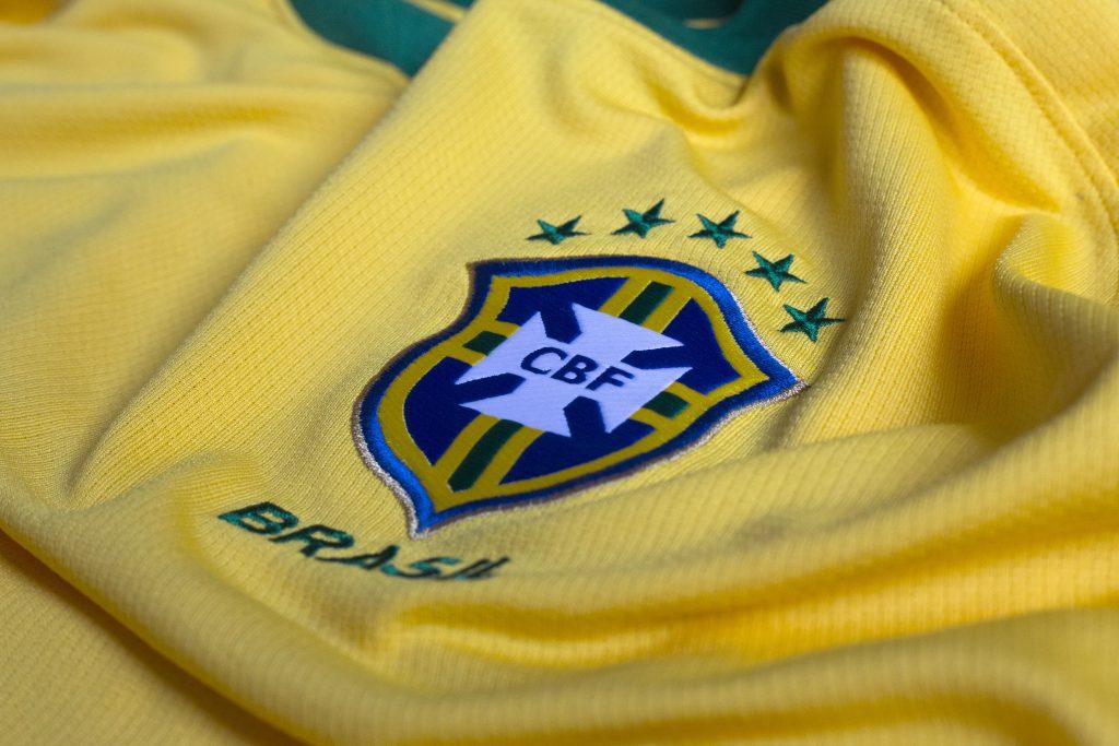 ZAGREB, CROATIA - JUNE 08, 2017. - Brazilian Football Confederation emblem on football jersey. credit shutterstock