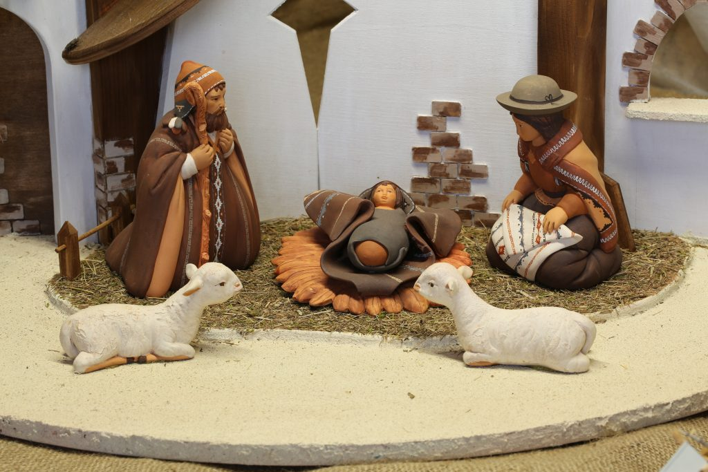 Christmas crib South-American and two white ceramic sheep credit shutterstock