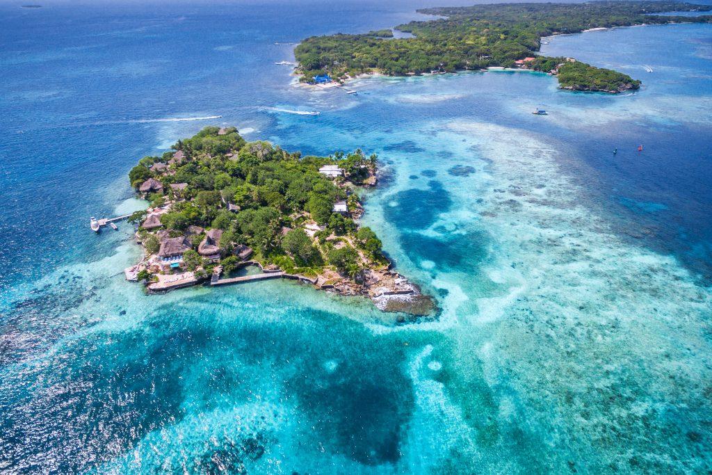 Rosario Islands (Islas del Rosario) in Cartagena de Indias, Colombia, aerial view. credit shutterstock