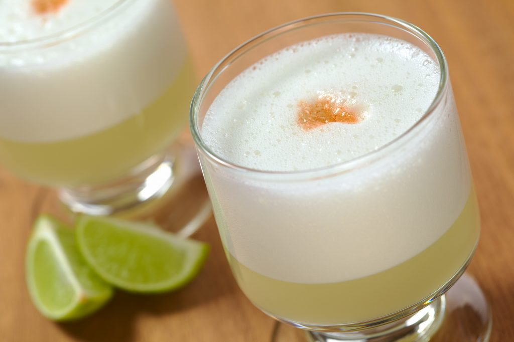 Peruvian cocktail named Pisco Sour made of Pisco credit shutterstock