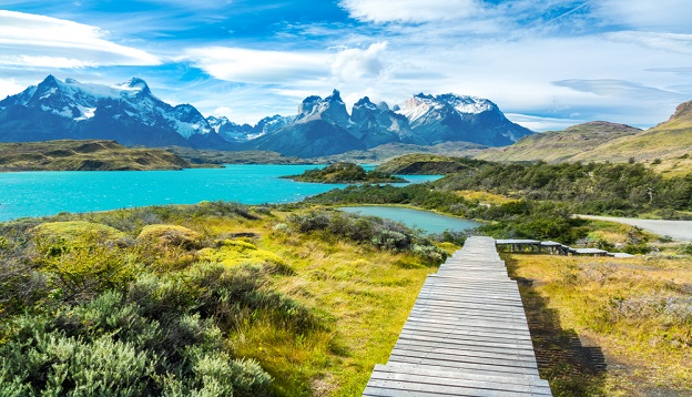Pehoe lake and Guernos mountains, Patagonia, Chile