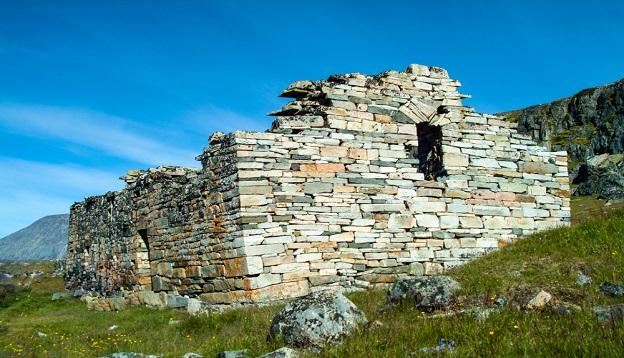 Stonework at Hvalsey Viking Church, Greenland.