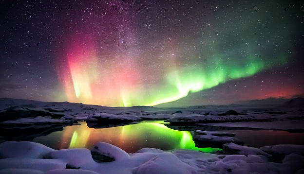 The Aurora Borealis dancing above Iceland