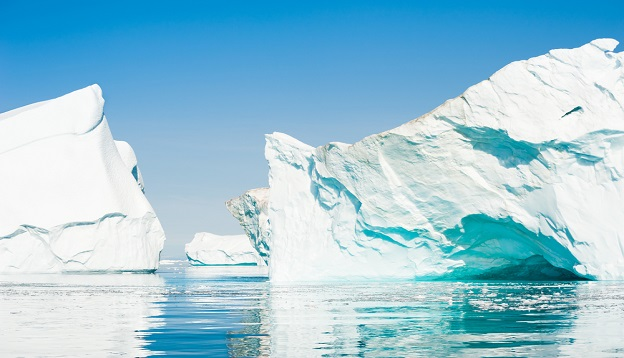 Big icebergs floating in the Ilulissat icefjord, Greenland.