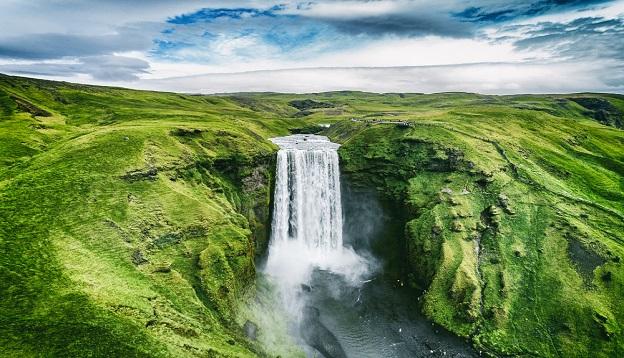 Waterfall Skogafoss, Iceland.