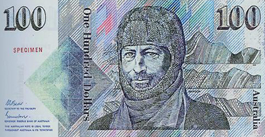 Mawsons rugged face on the front of the Australian $100 note