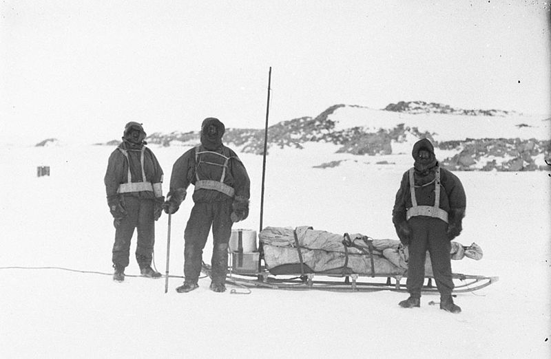 Explorers of the Australasian Antarctic Expedition after their western survey party