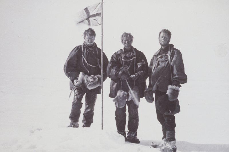 Explorers Mawson, McKay and David at the magnetic South Pole in 1909