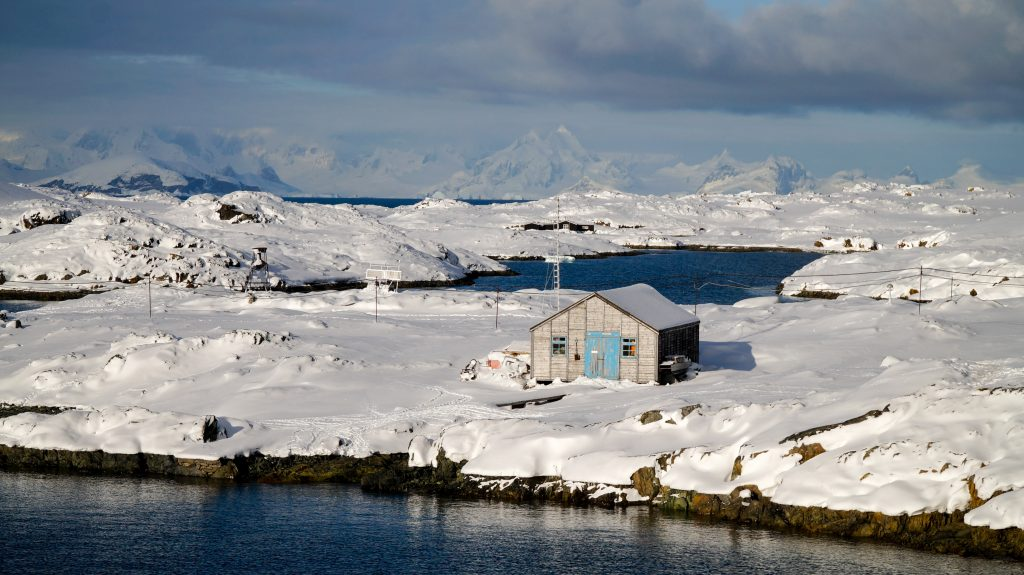 Snowy Vernadsky Research Station in Antarctica