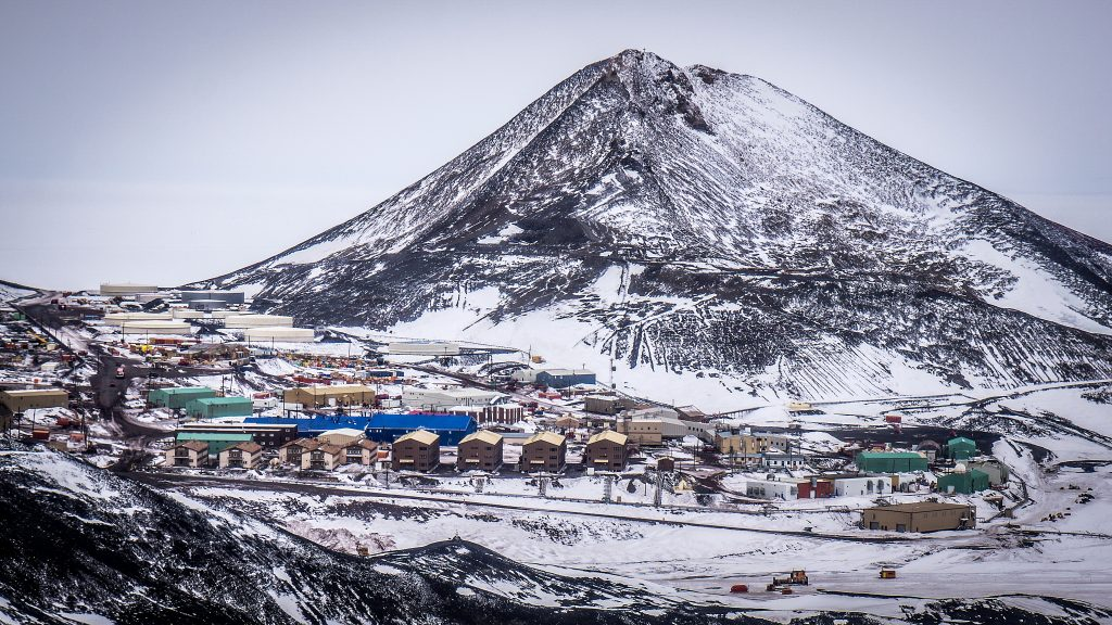 View of the McMurdo base and Observation Hill, Antarctica