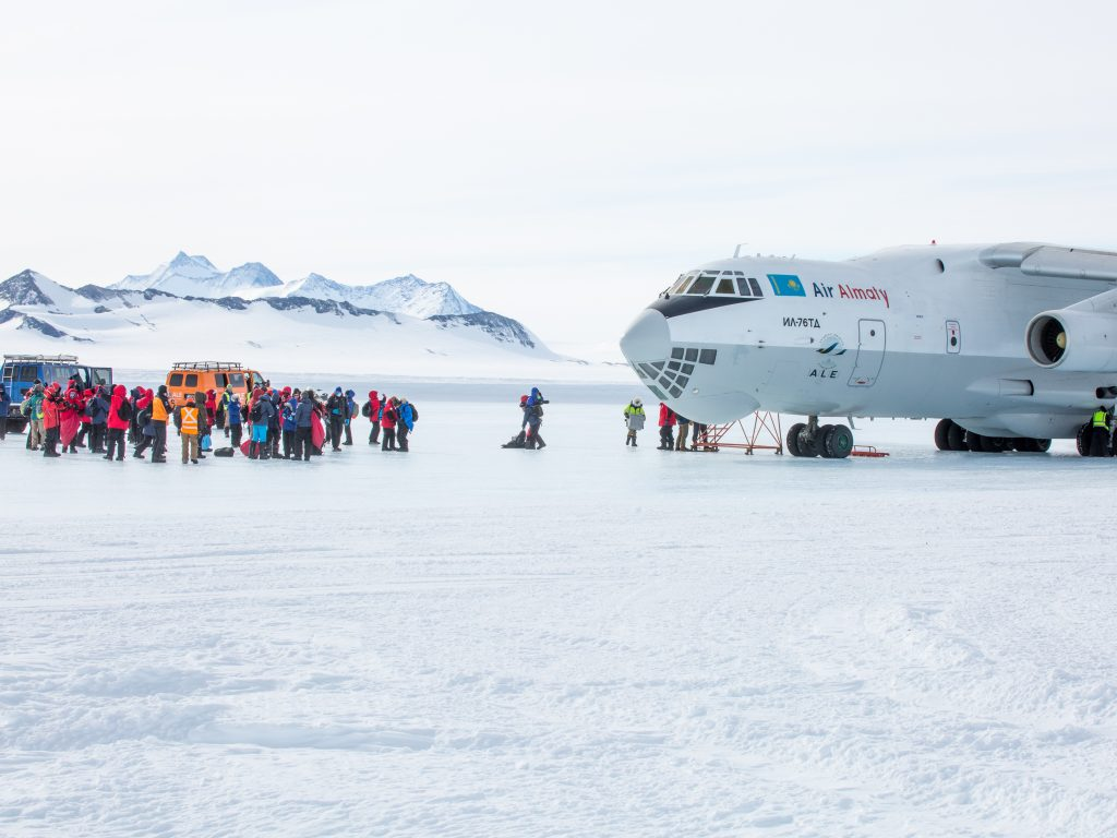 Arriving at the Union Glacier Base Camp in Antarctica