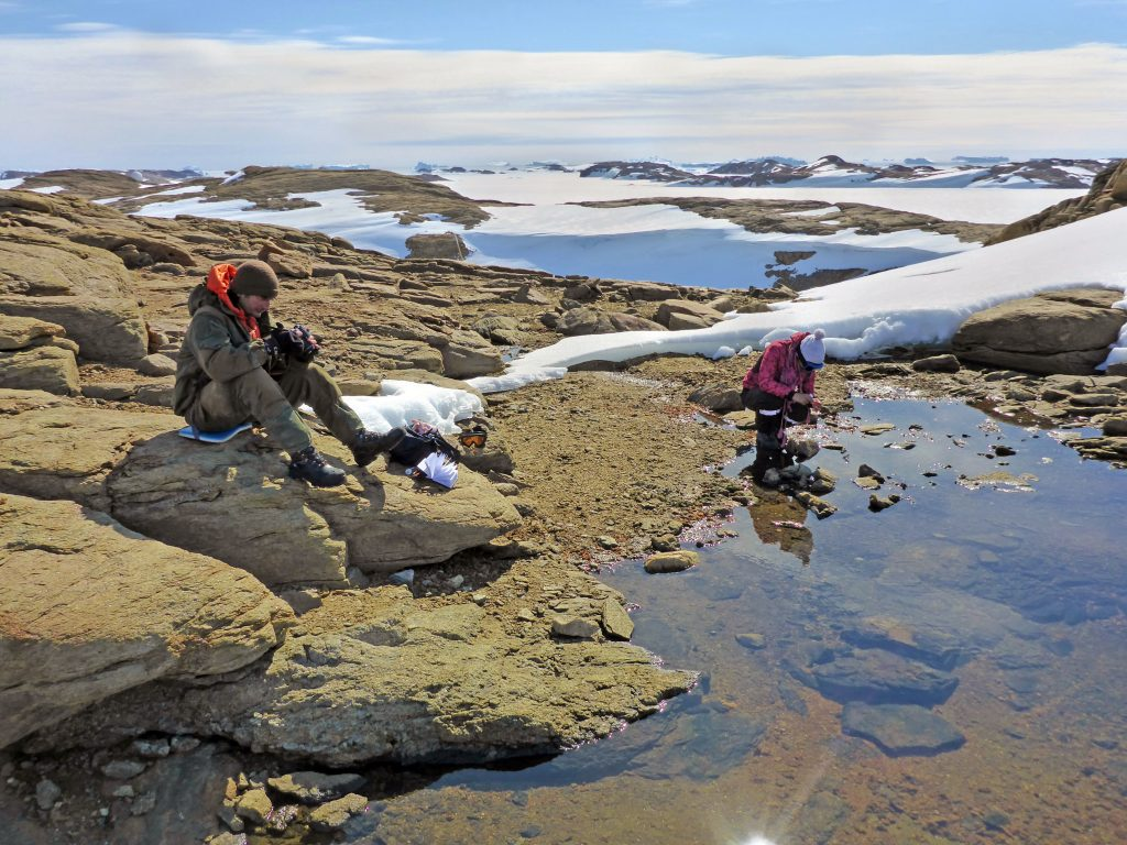 Scientists measure and sample water in Antarctica