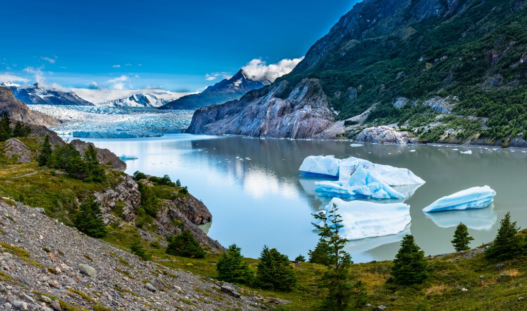 Panoramic view of ice fields in front of Glacier Grey in Torres Del Paine National Park Chile