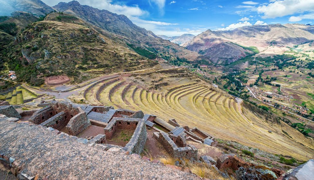 Ruins and terraces at Pisac in the Sacred Valley near Cusco, Peru