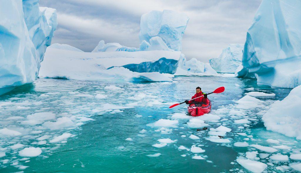 Winter kayaking in Antarctica