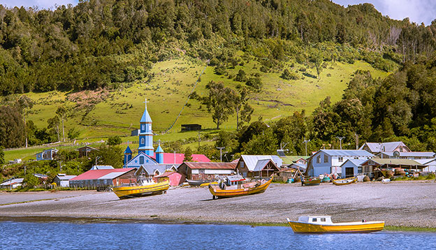 Tenaun, Chiloe, Chile with its Wooden Jesuit Church - UNESCO World Heritage site