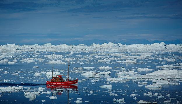 Ship in Ilulissat Icefjord, UNESCO World Heritage Greenland