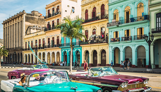 The colourful classic American cars in Havana, Cuba