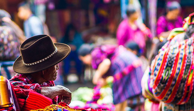 Colourful market scene in Chichicastenango