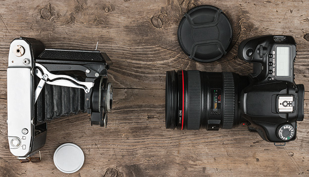 Different generations of photography equipment
