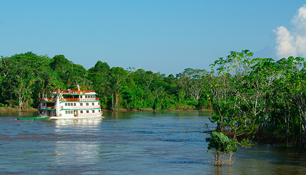 Small ship on the Amazon River, Manaus, Brazil.