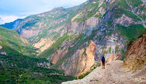 A tourist trekking in the Colca Canyon
