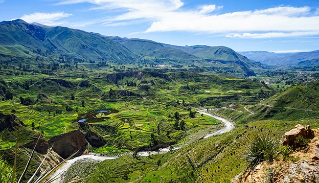 view over the amazing landscape in the Colca Canyon